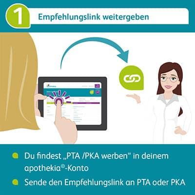 Empfehlungslink an eine PTA oder PKA weitergeben
