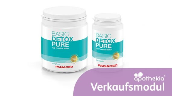 Teaser-Grafik zum apothekia-Verkaufsmodul für PANACEO Basic-Detox Pure